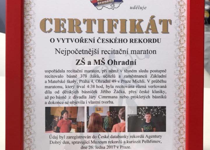 A originál Certifikátu o vytvoření rekordu již máme ve škole!!!